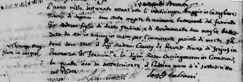 Manuscrit andré CAUVY du Revest de Roquebrune en corse