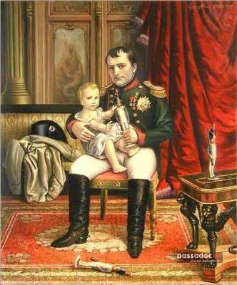 Peinture Empereur Napoleon Bonaparte avec son fils né en 1811
