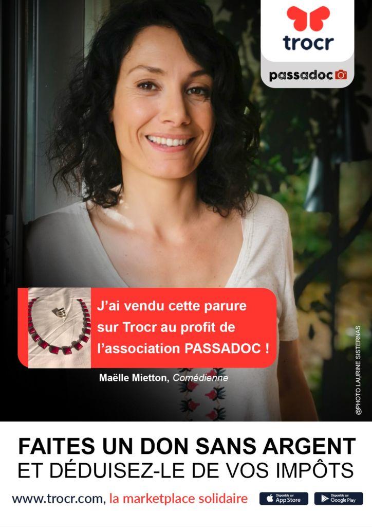 La comédienne Maëlle Mietton fait un don a l association PASSADOC via l application TROCR
