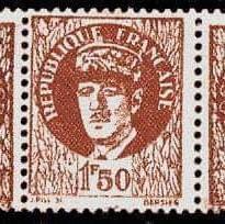 Timbre du Général de Gaulle imprimé par des Résistants en 1943